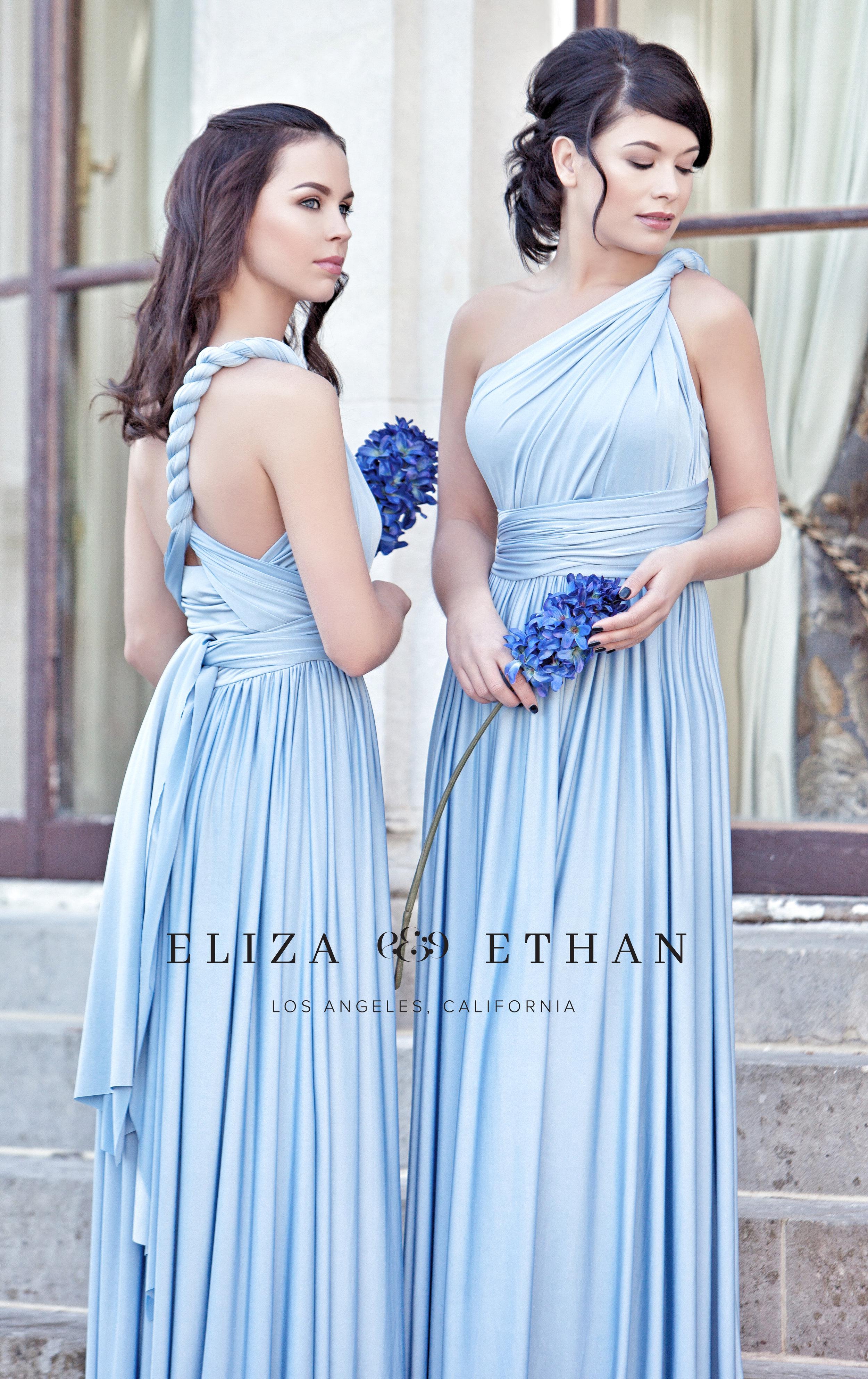 Eliza & Ethan multi way wrap dress blue bridesmaids dress