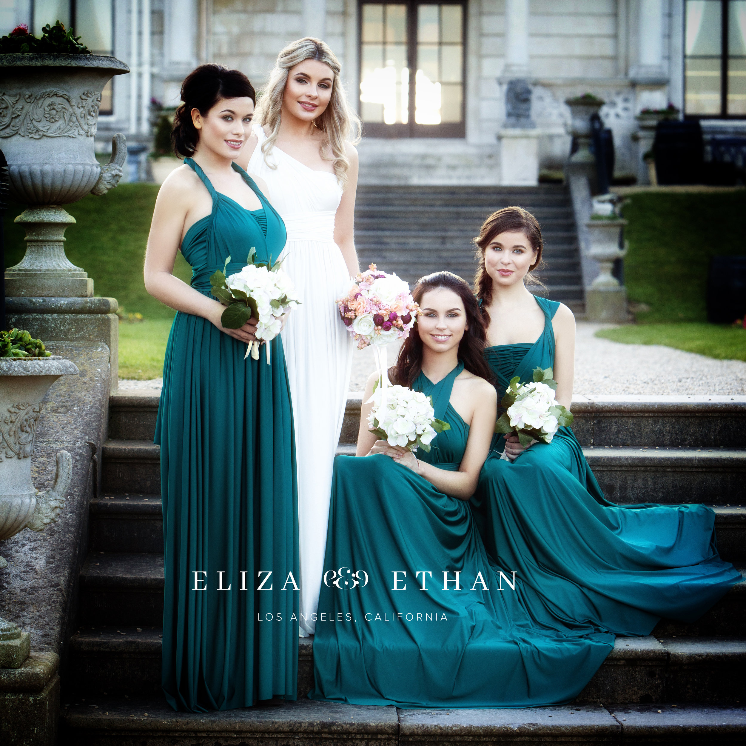 Eliza & Ethan multi way wrap dress teal bridesmaids dress wedding