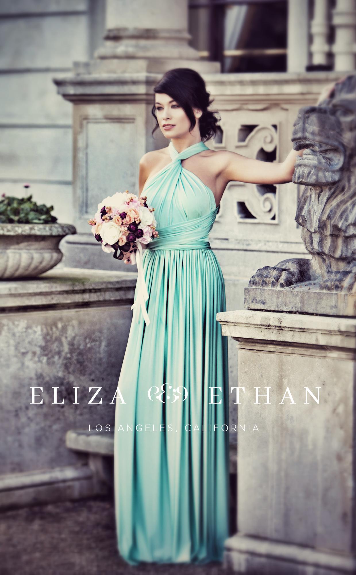 Eliza & Ethan multi way wrap dress mint blue bridesmaids dress wedding