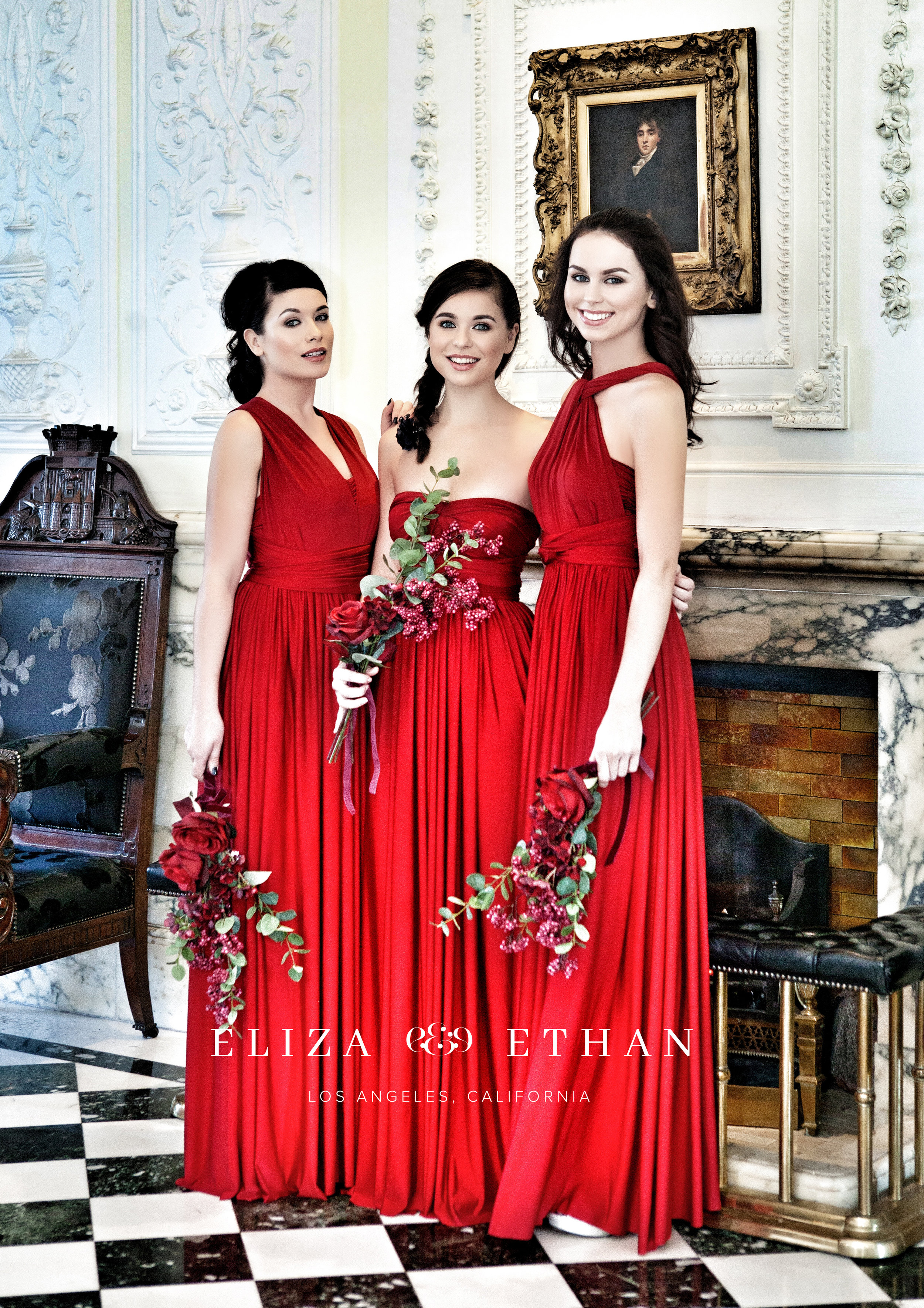 Eliza & Ethan multi way wrap dress red bridesmaids dress wedding