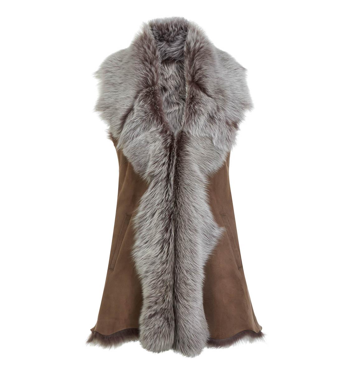 Leather Classics taupe long sheepskin gilet