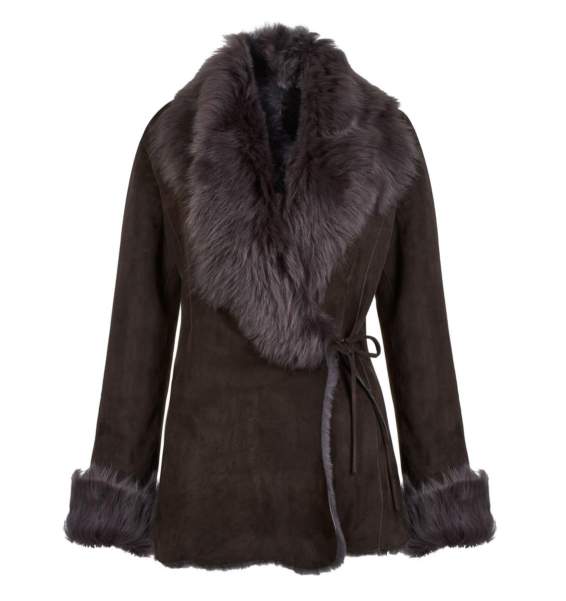 Leather Classics dark grey wrap-over sheepskin jacket