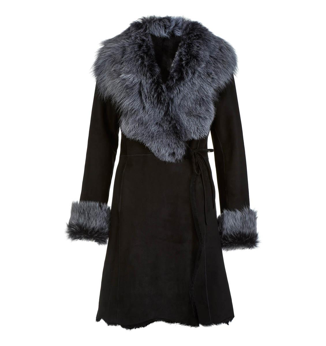 Leather Classics black wrap-over long sheepskin coat