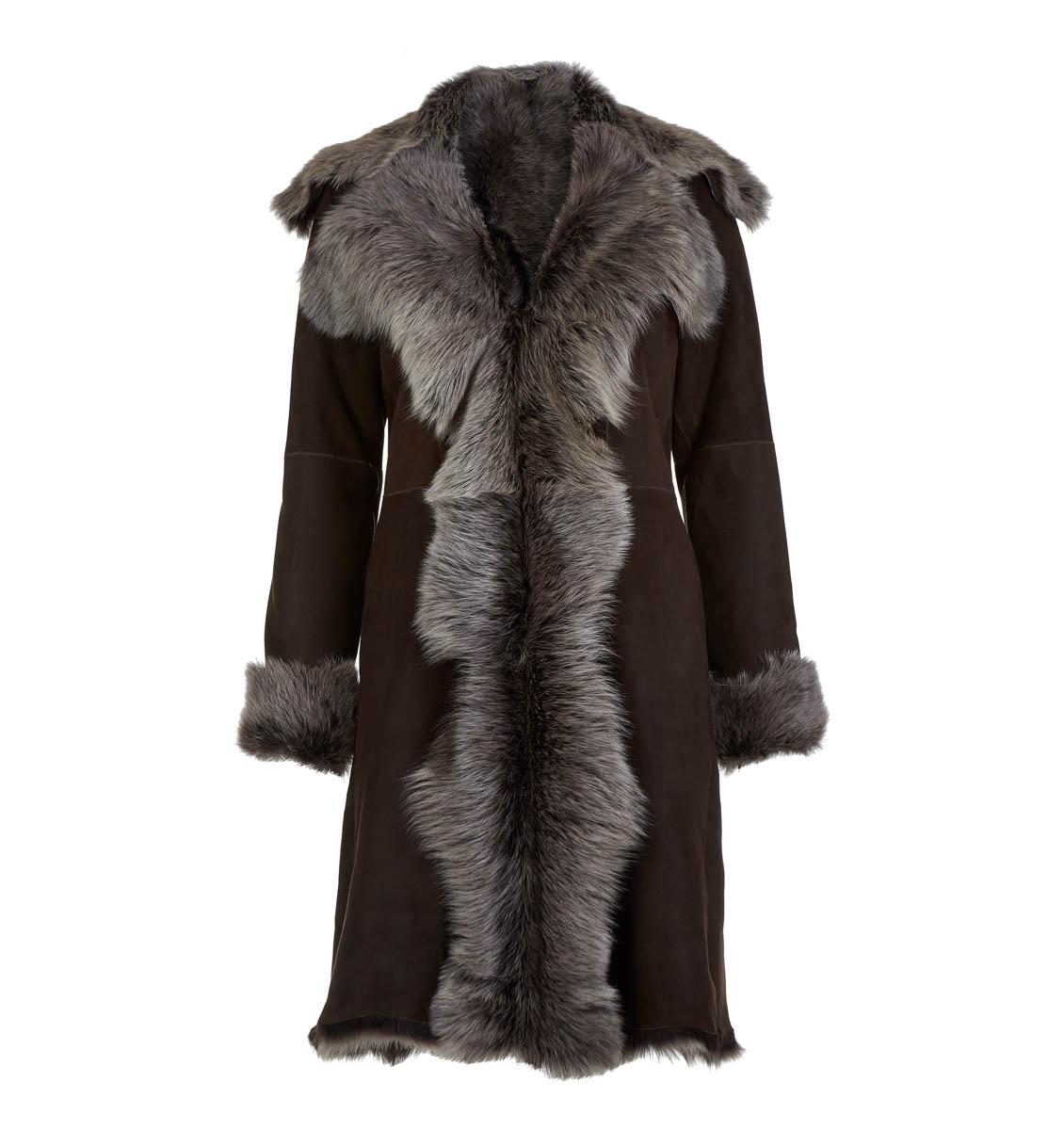 Leather Classics brown long sheepskin coat