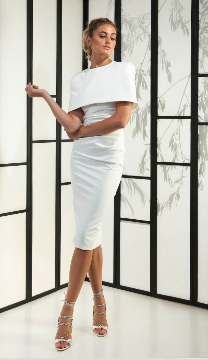 Kean Jon white cape midi dress