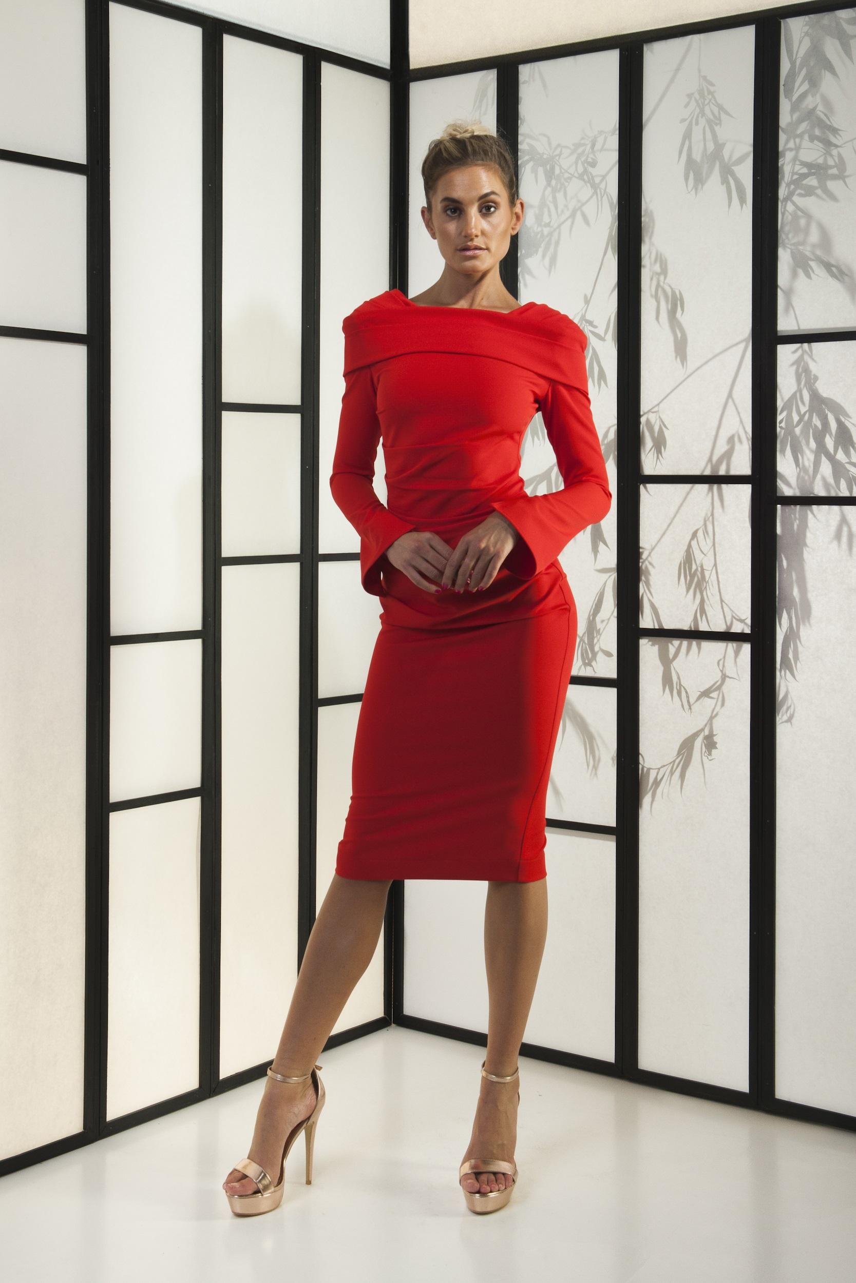 Kevan Jon red midi dress long sleeves