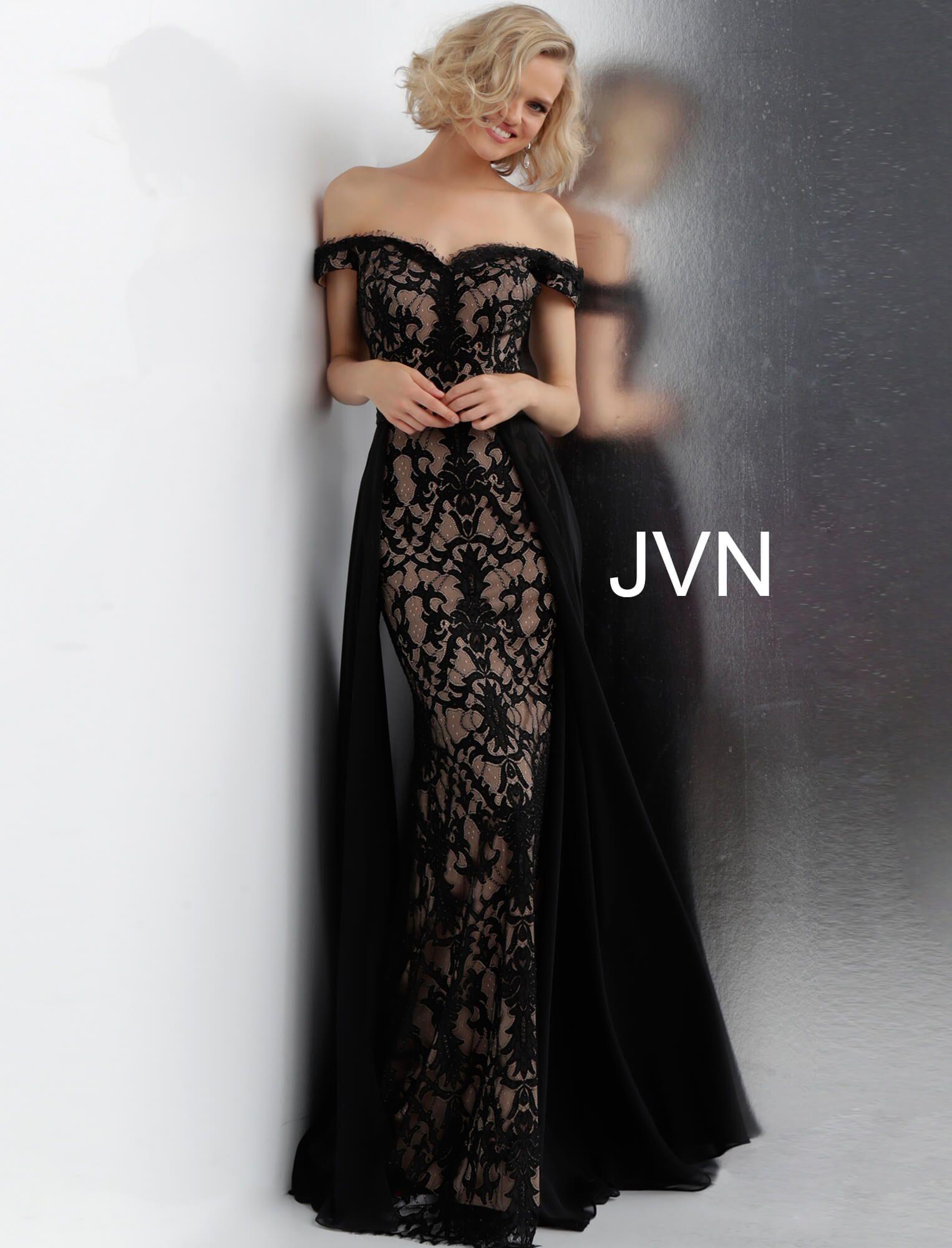 JVN Jovani black lace prom dress