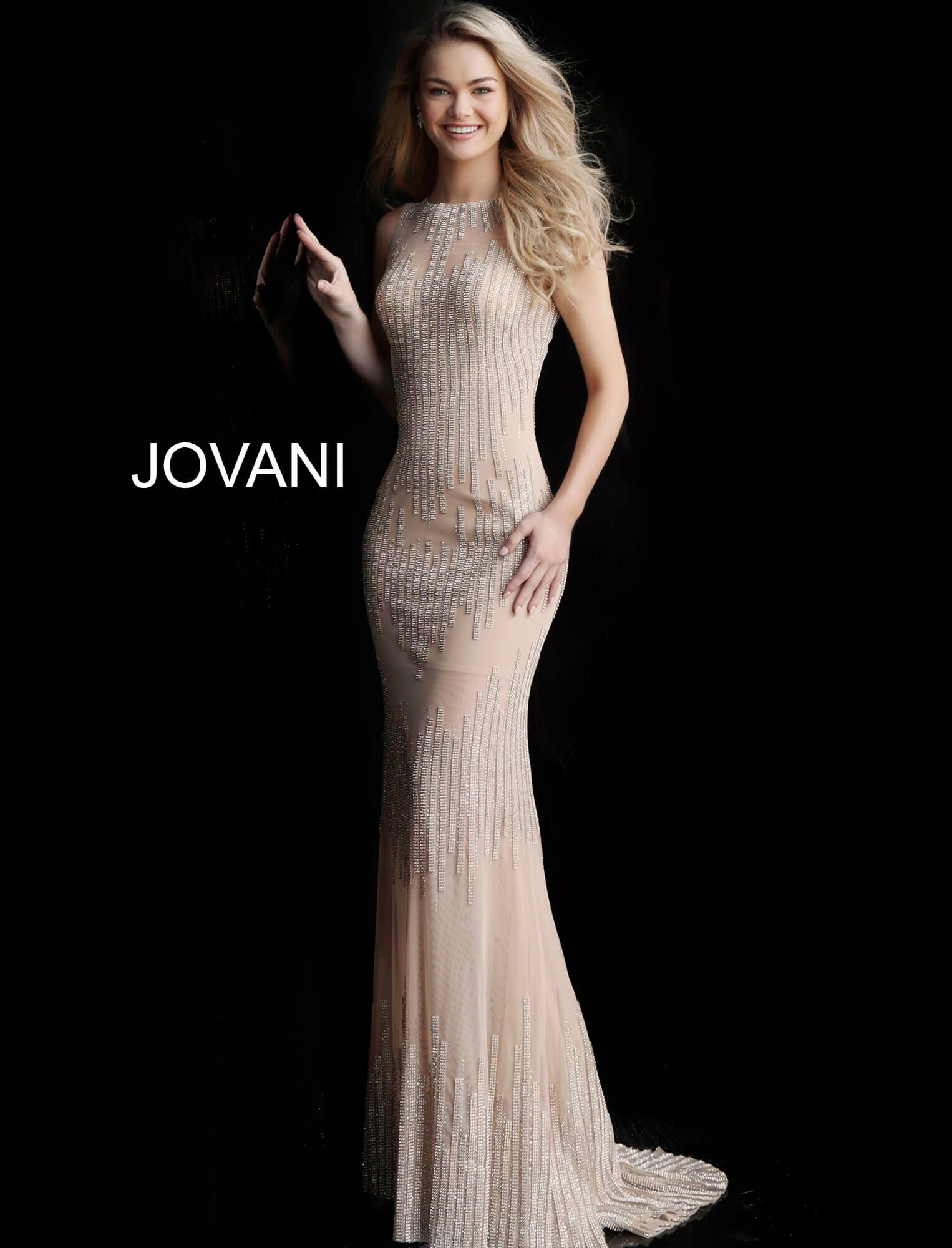 Jovani nude beaded maxi dress