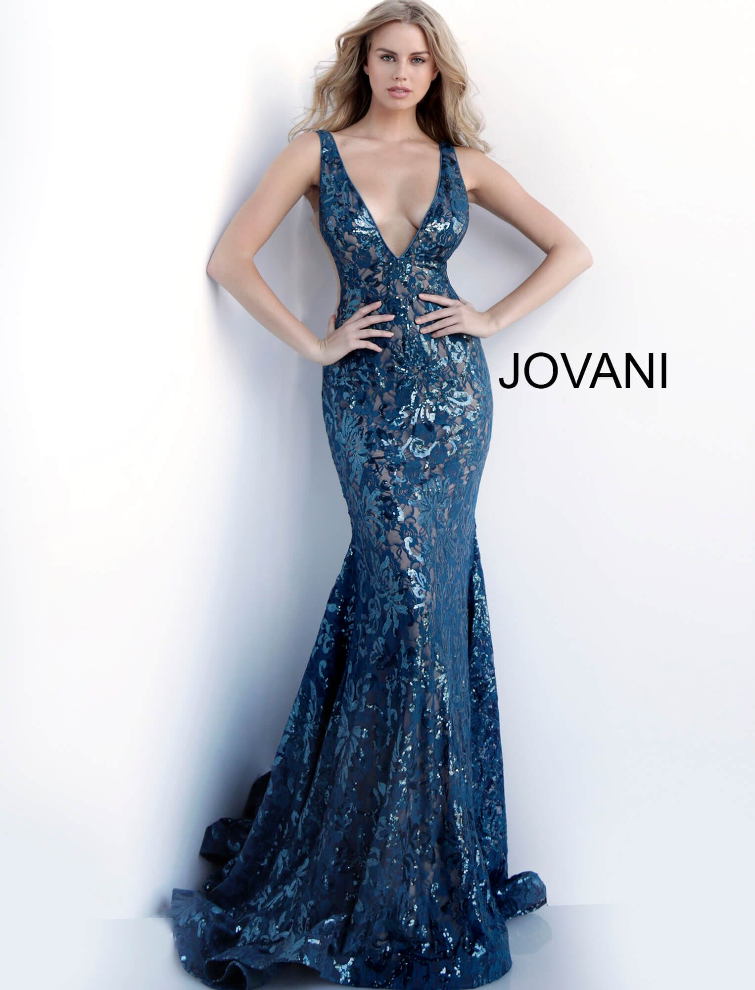 Jovani teal sequinned maxi dress