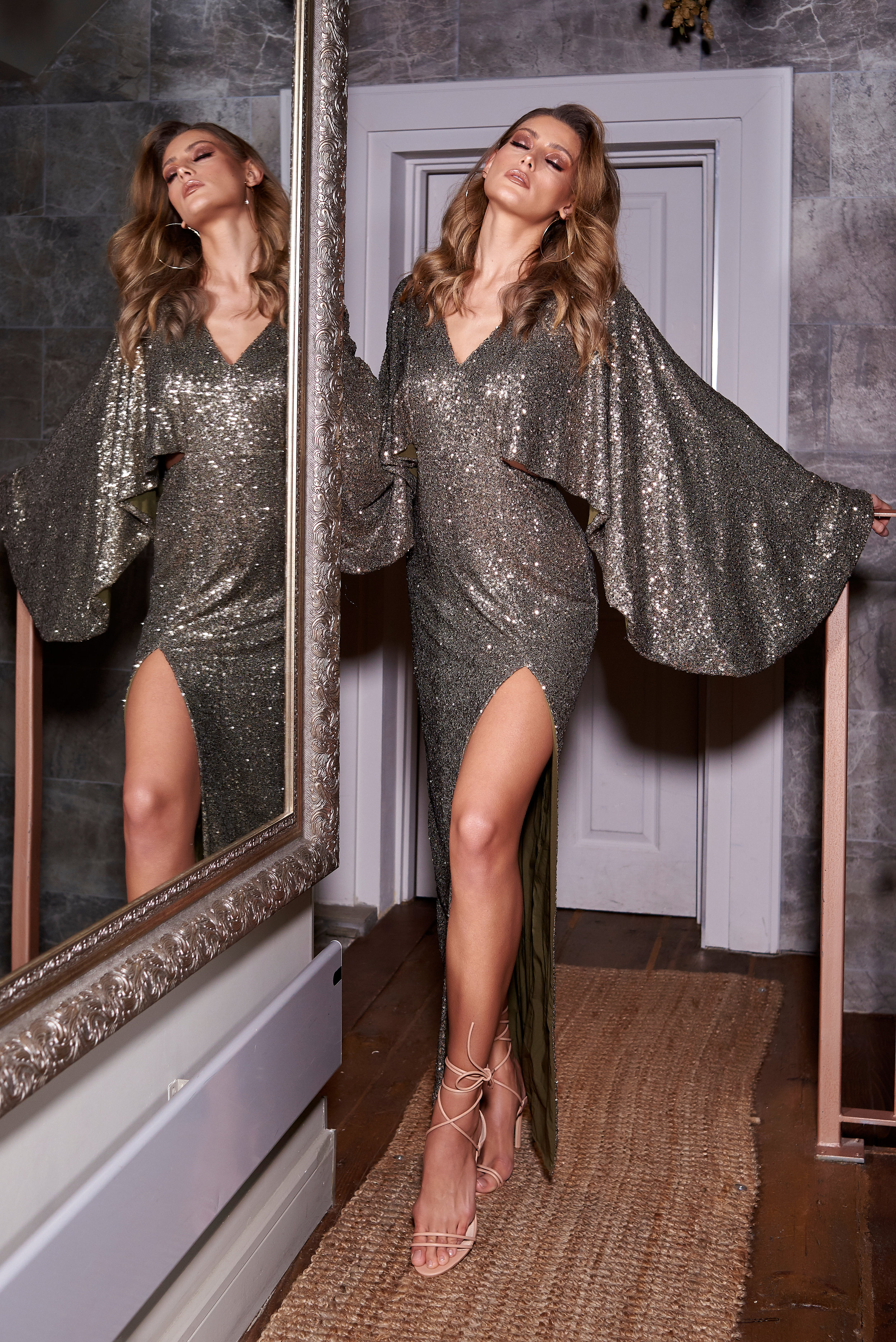 Forever Unique AW19 silver sequin party dress