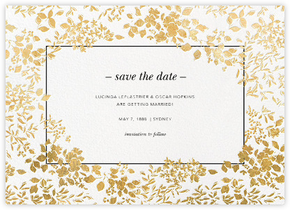 Love this simple yet beautiful Save the Date from Paperless Post. This can be sent electronically or printed. And you can customize the colors!