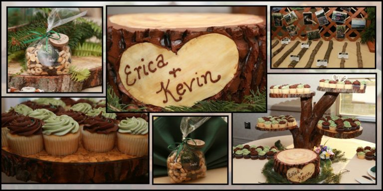 "Erica and Kevin incorporated several fall items but this was my favorite – the wood ""stump"" is actually a cake! Everyone thought it was real wood! And the groom made the cupcake stand! Photo by A Reflection By Sherry."