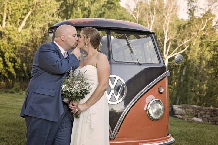 This little gem was one of several vintage VWs hidden in the barn! By having their wedding at their home they were able to use them in photos! Photo by Captured by Missi.