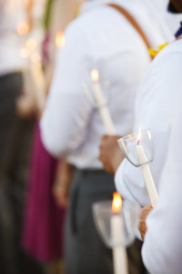 Carla and Joe decided to have all of their guests light candles during the ceremony. Photo by The Wiebners.