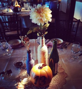 Monica & Joey had a fall wedding so decided to use pumpkins as their table #s.