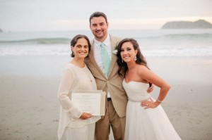 The couple and the lovely officiant.