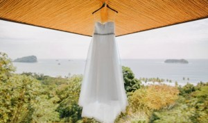 The bride's gorgeous dress – and a gorgeous view from the villa.