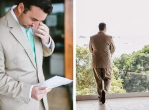 The groom reading a letter from his bride.