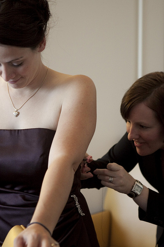 Sewing the ripped bridesmaid dress