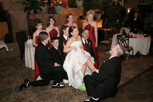 A little surprise I incorporated in to my own wedding...I threw my new hubby off guard when he went to get the garter and found big, green, fuzzy frog slippers on my feet! Everyone thought it was great!