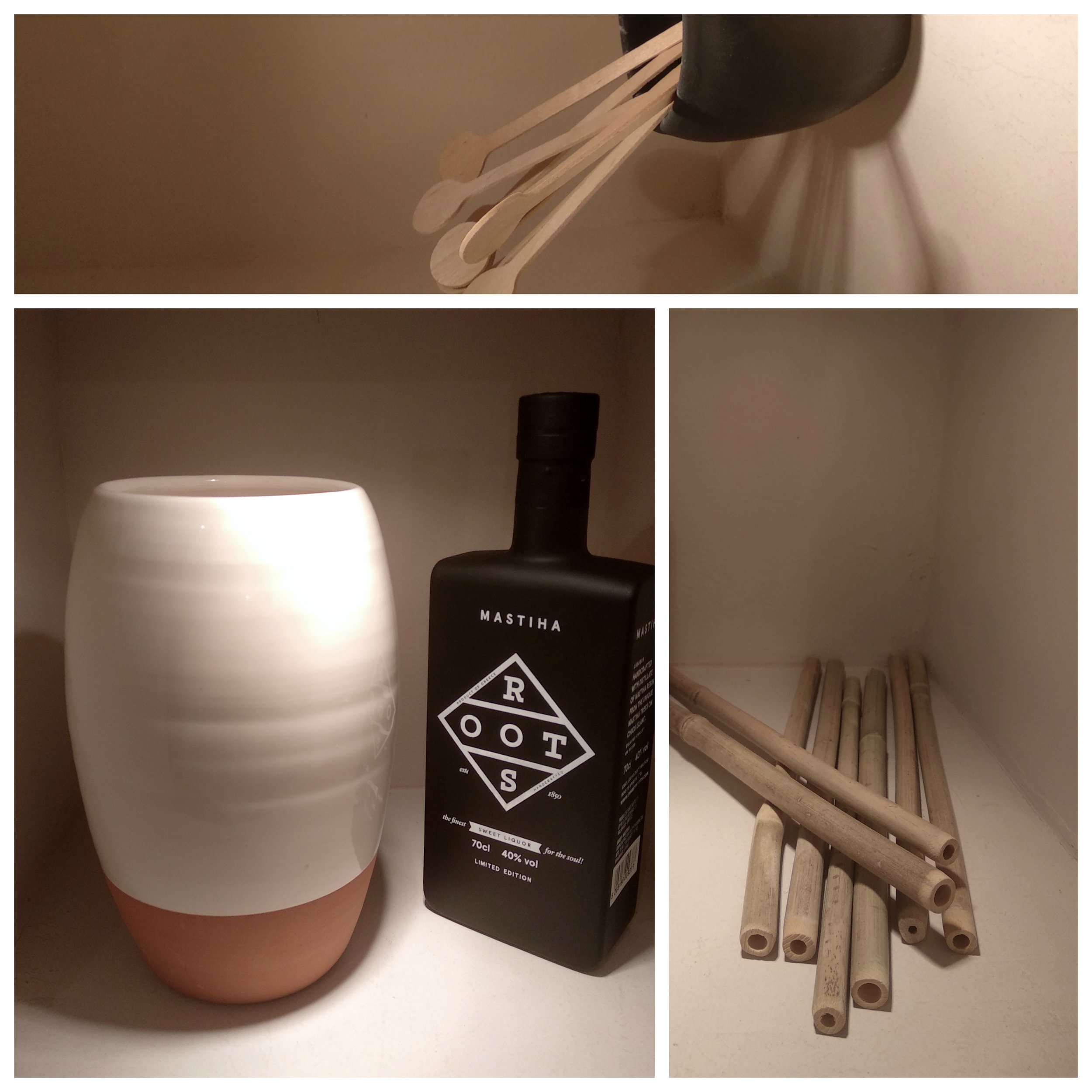 Sustainability kit - SET OF BAMBOO STRAWSWashable, reusable#ditchplasticstraws #refusethestrawCERAMIC AMPHORAA specially redesigned ceramic 'amphora' that can be used for:- a mixing glass- ageing or storing premixed cocktails- open air fermentation, with the cotton coastersECO WOODEN COCKTAIL STIRRERSWashable, reusableCOTTON COASTERSWashable, reusablePOSTER MENUSTo reduce paper waste you will receive the menu of the week with your recipes and your bar credentials in poster frames