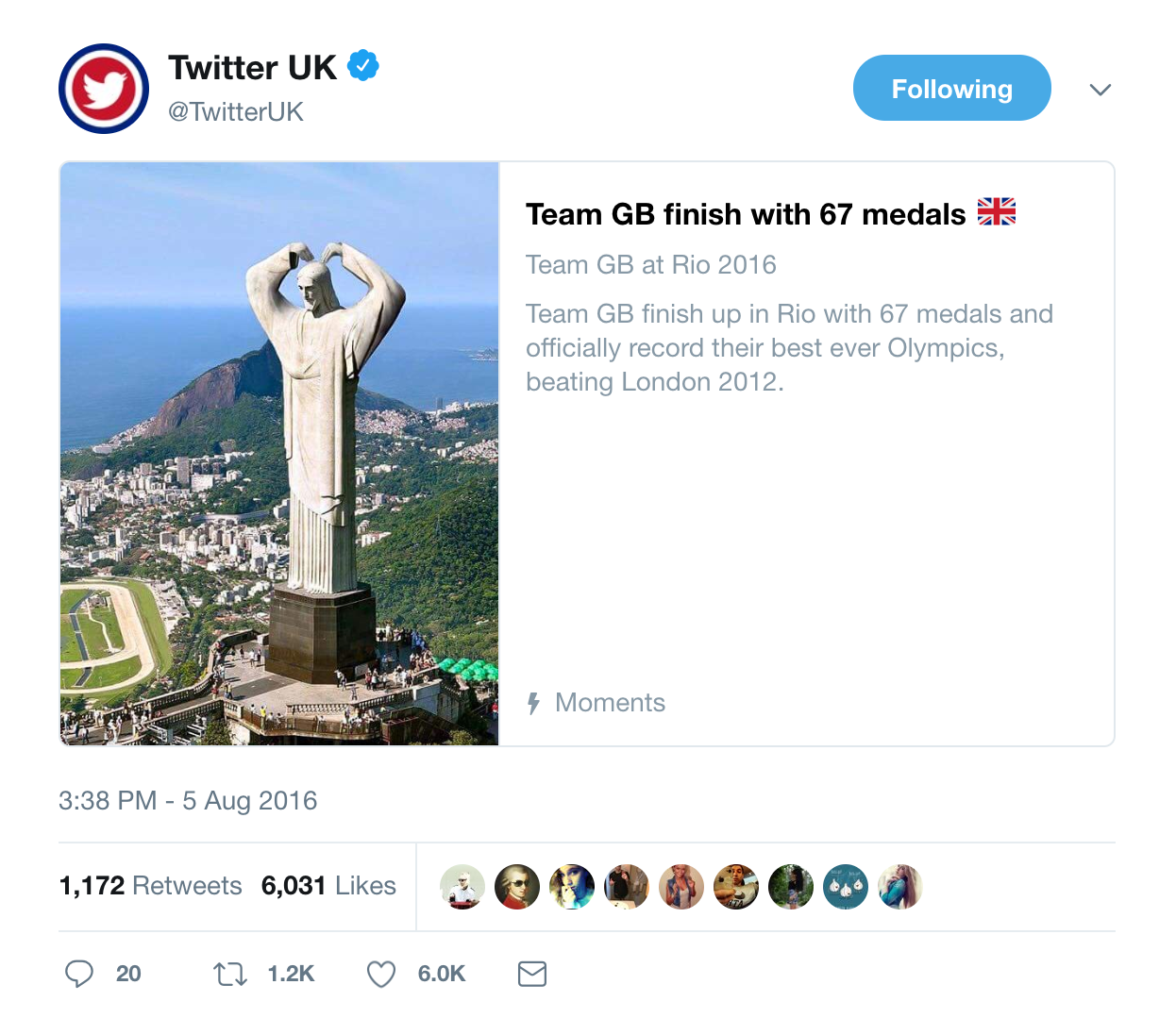 Example of Promoted Tweet campaign optimised to drive followers to Twitter Moments for real time updates on the Rio Olympics.
