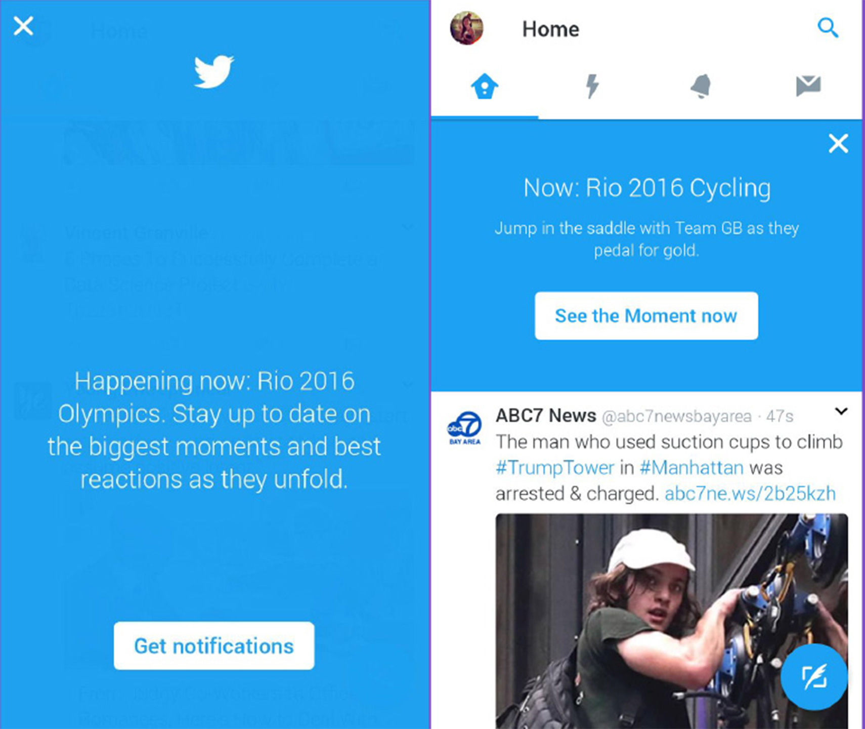 In-app UMF's optimised to drive users to opt-in to notifications about the Rio Olympics, and to drive to Twitter Moments.