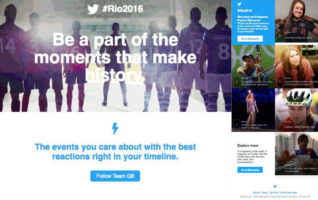 Examples of email campaigns driving to opt-in to Olympics Twitter notifications and to visit Twitter Moments