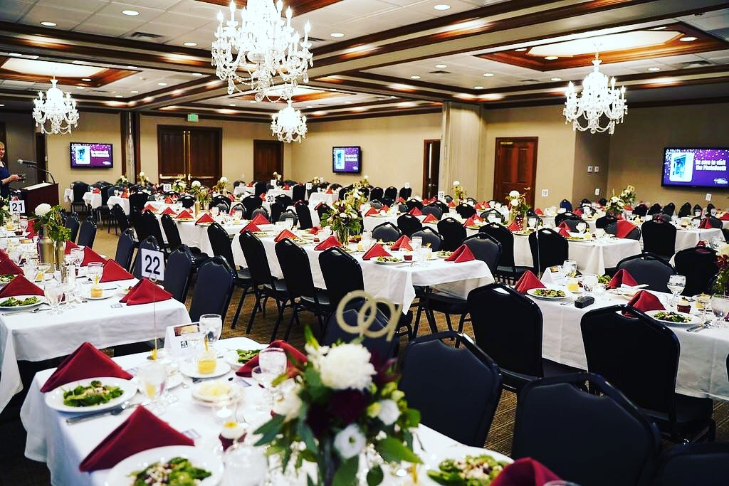Our beautiful ballroom can be dressed to create the fairytale wedding or professional convention that you are looking for. With its large space and options in tables, linens, and decorations; we are here to accommodate your every need.