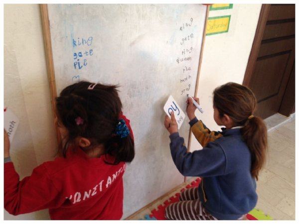 Jannena House, Ioannina, Greece - As with Filippiada and Neochori, we also provide non formal education to the children and families at the Jannena House in Ioannina Greece. This centre is also in partnership with Intersos. This site consists mainly of 13 children and 15 adults where we focus our efforts on intense conversational English for women whereas we also provide mathematics and English classes for the children. Our art activities are a big part of our program here as well.