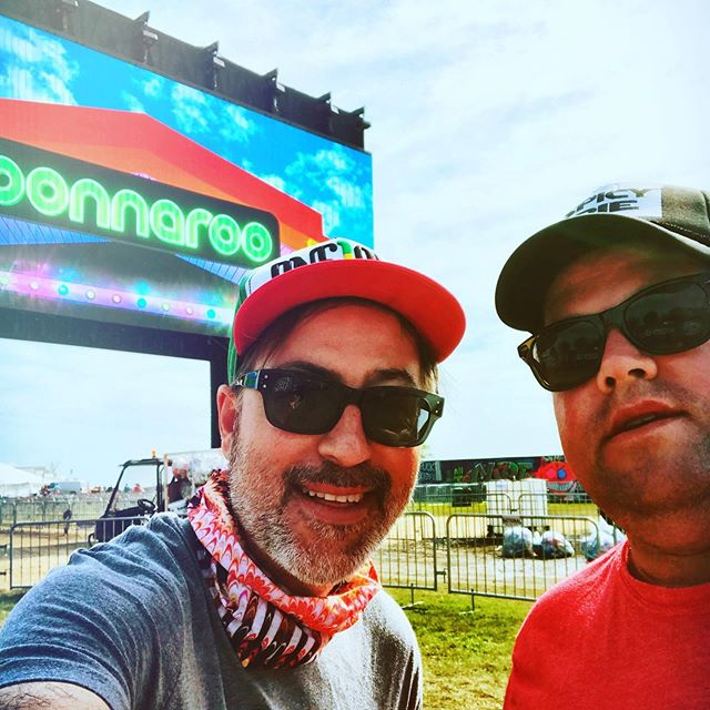 Artist perk, they let you bring your own caddy to help navigate the festival. I, of course brought a pro. @harhar1972 (he needs his own stage) #bonnaroo
