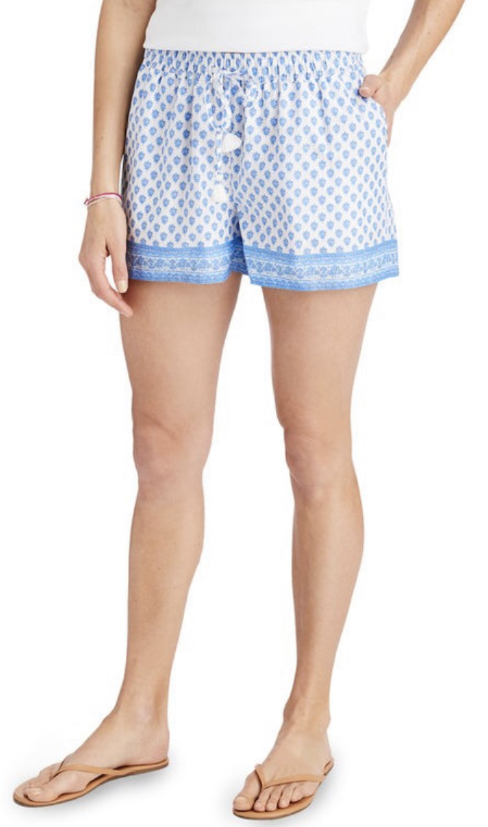 Tiny Block Print Pull-On Shorts