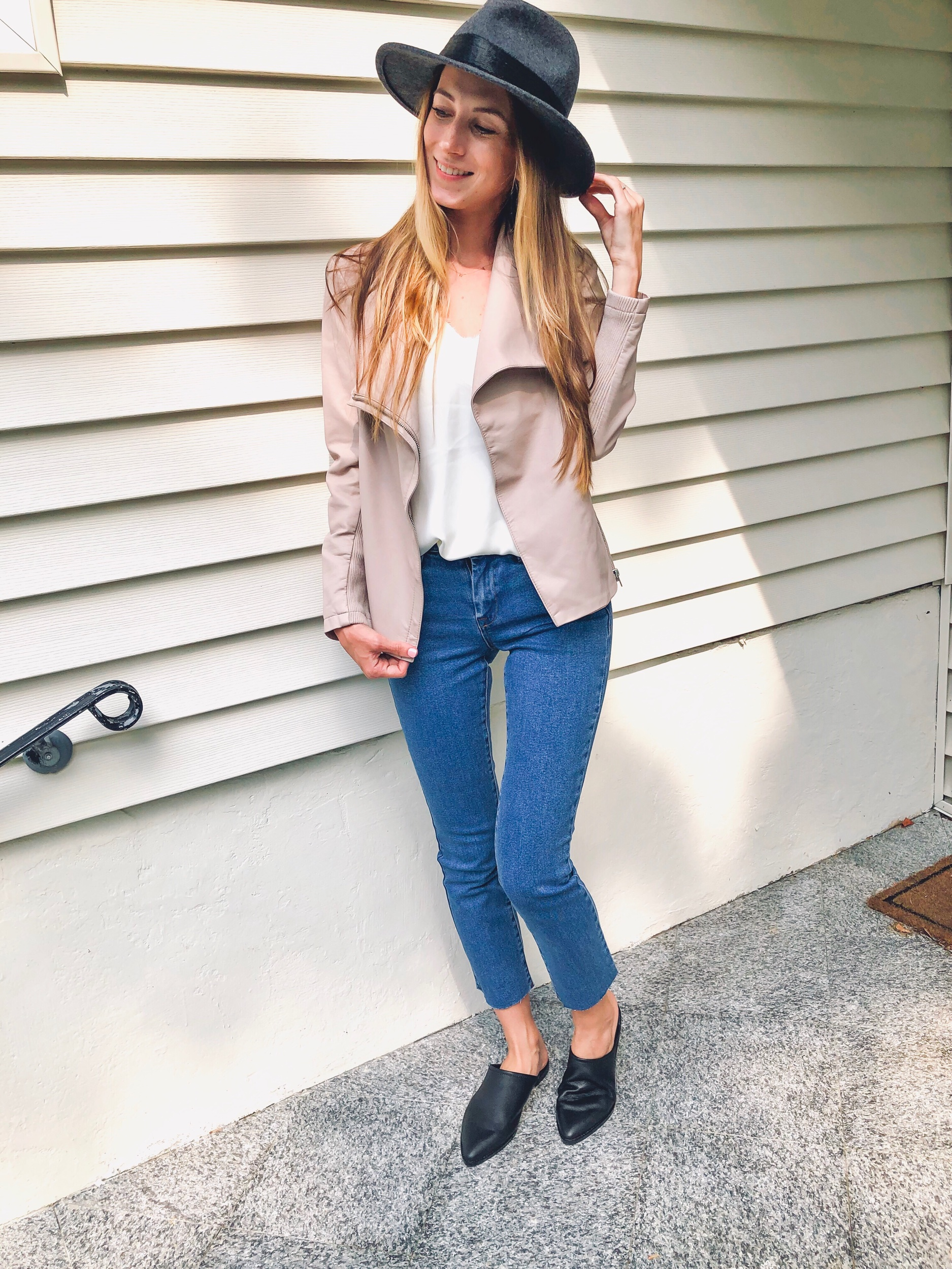 Loving this Something Navy Hat paired with this BB Dakota Faux Leather Jacket and cami, Blank NYC Jeans and Treasure & Bond mules