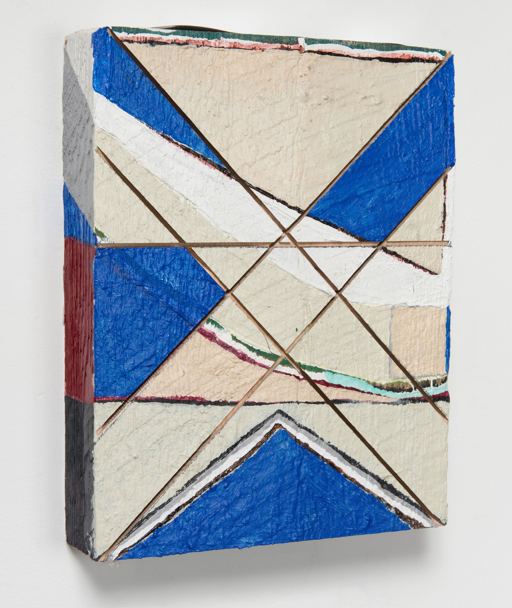 Blue Cross Over , 2018  Acrylic on wood  12 x 9 1/2 x 2 1/4 inches