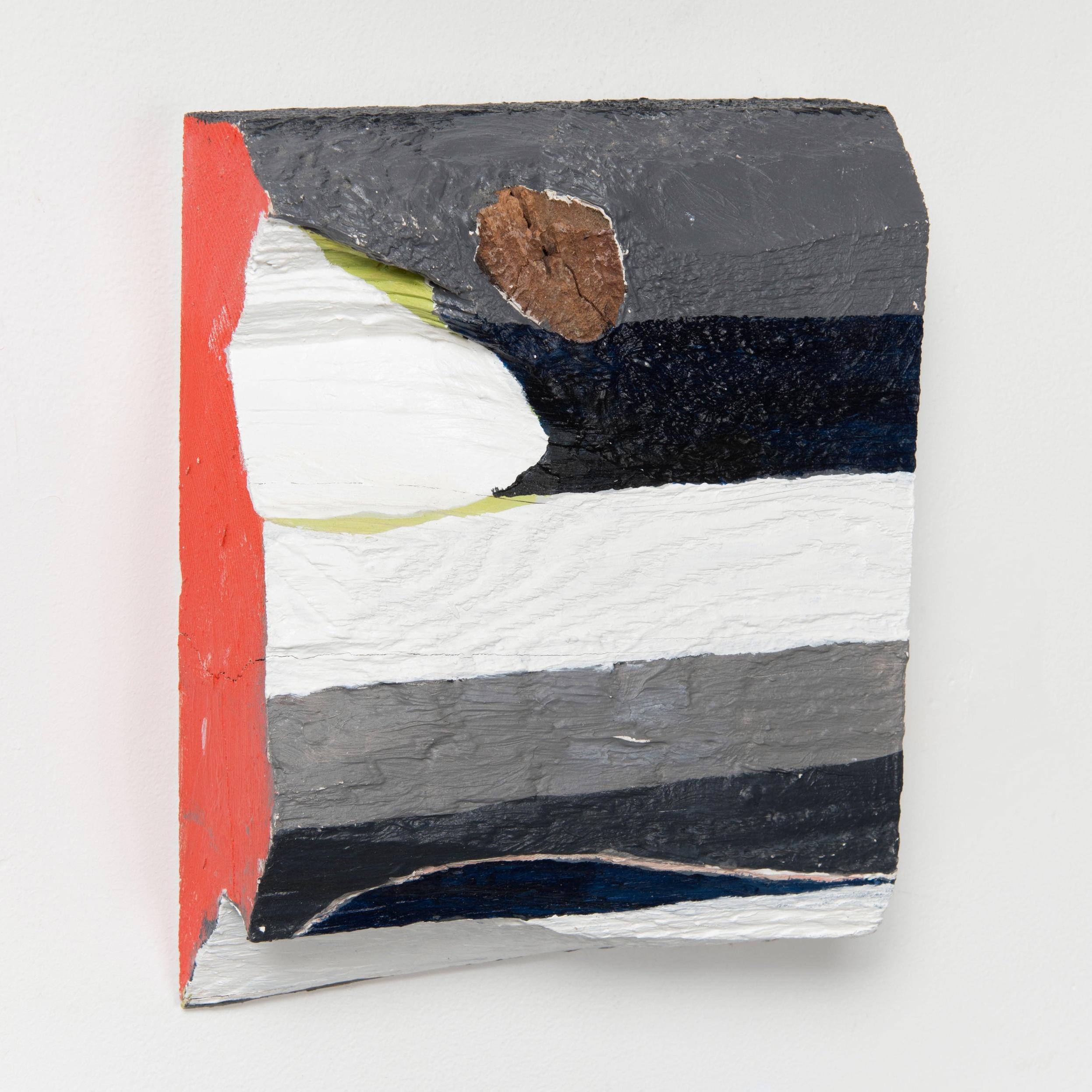 Dark Bars , 2018  Acrylic and enamel on wood  8 3/4 x 7 x 2 1/2 inches