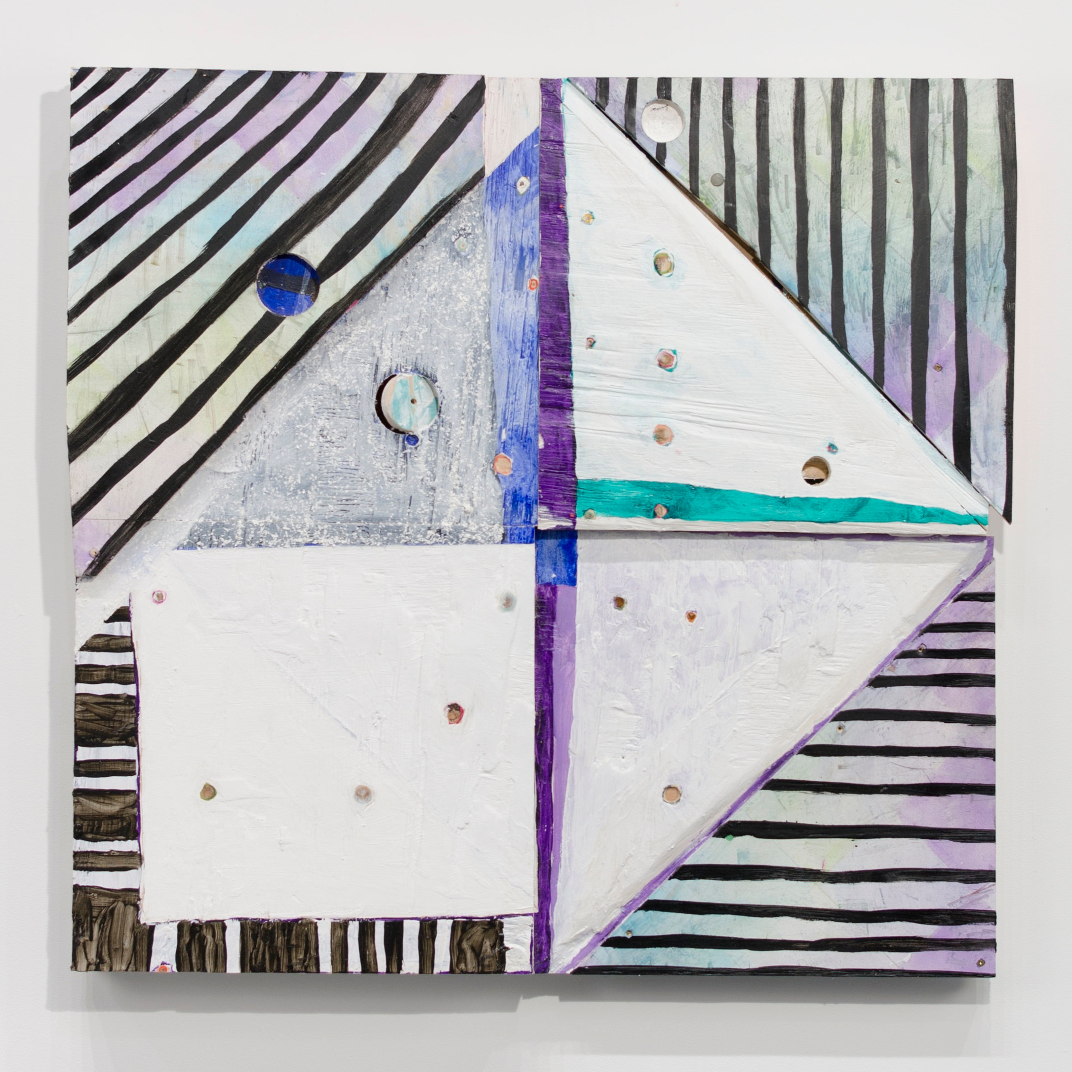 Untitled , 2015  Acrylic, shallac, and encaustic on wood  32 x 33 1/4 x 3 inches