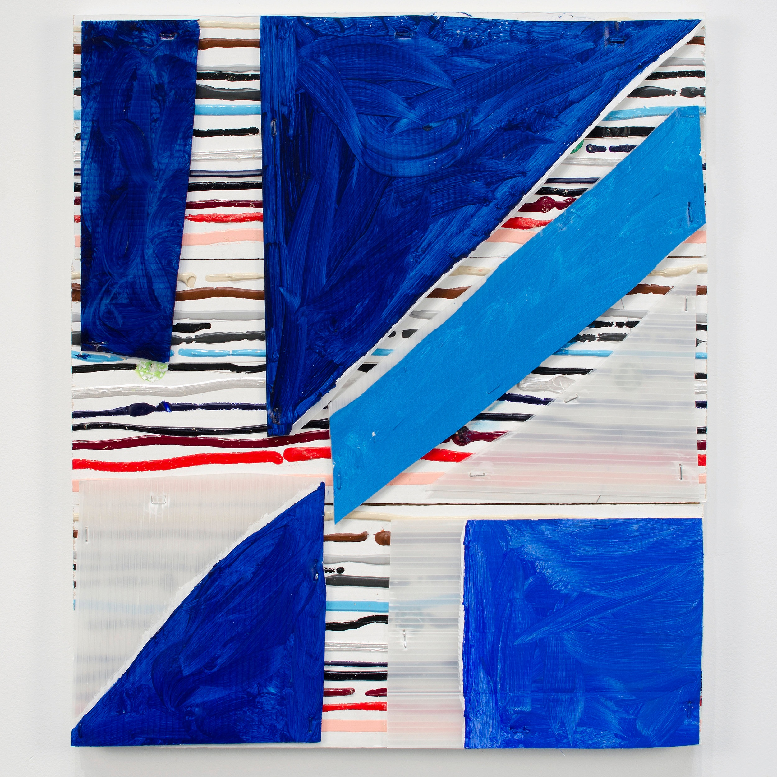 Blue Mask , 2016  Acrylic and Correx on wood  21 1/2 x 18 1/2 x 1 1/4 inches