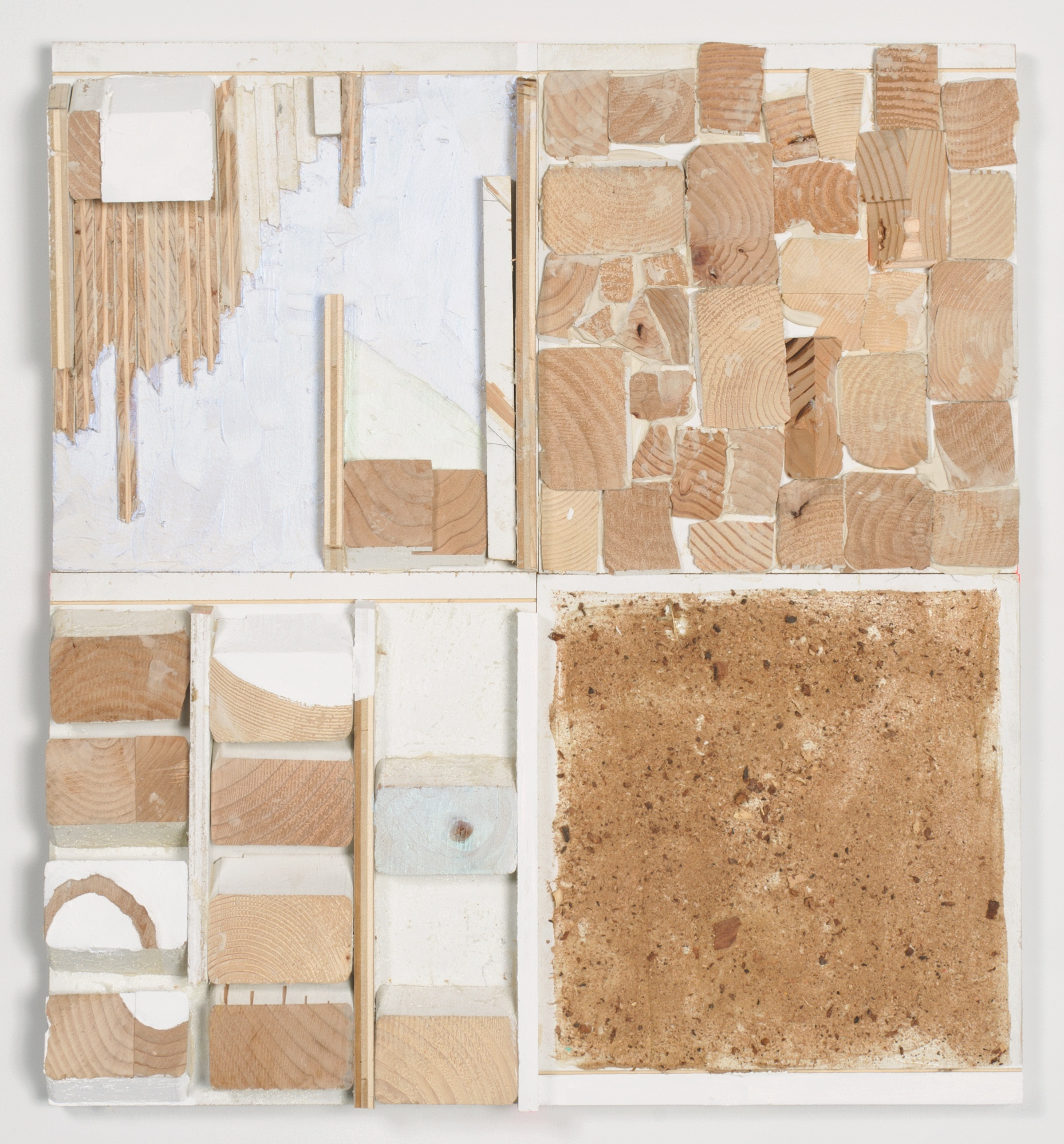 Thought Boxes , 2015  Acrylic, enamel, and sawdust on wood  26 1/4 x 24 x 2 inches