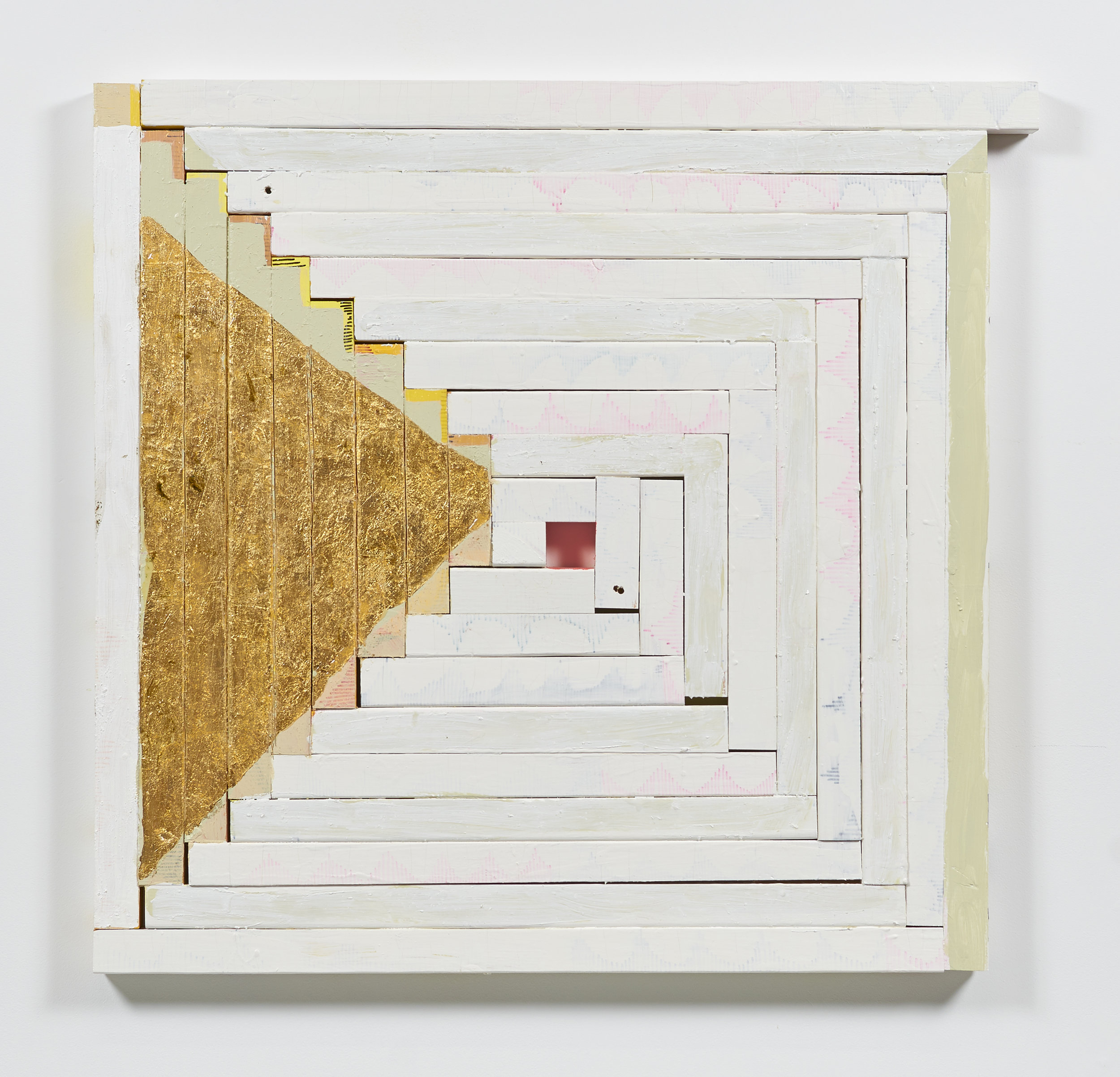 Clackered , 2014  Acrylic, gold leaf, shellac, and marker on wood  35 x 37 x 1 1/2 inches