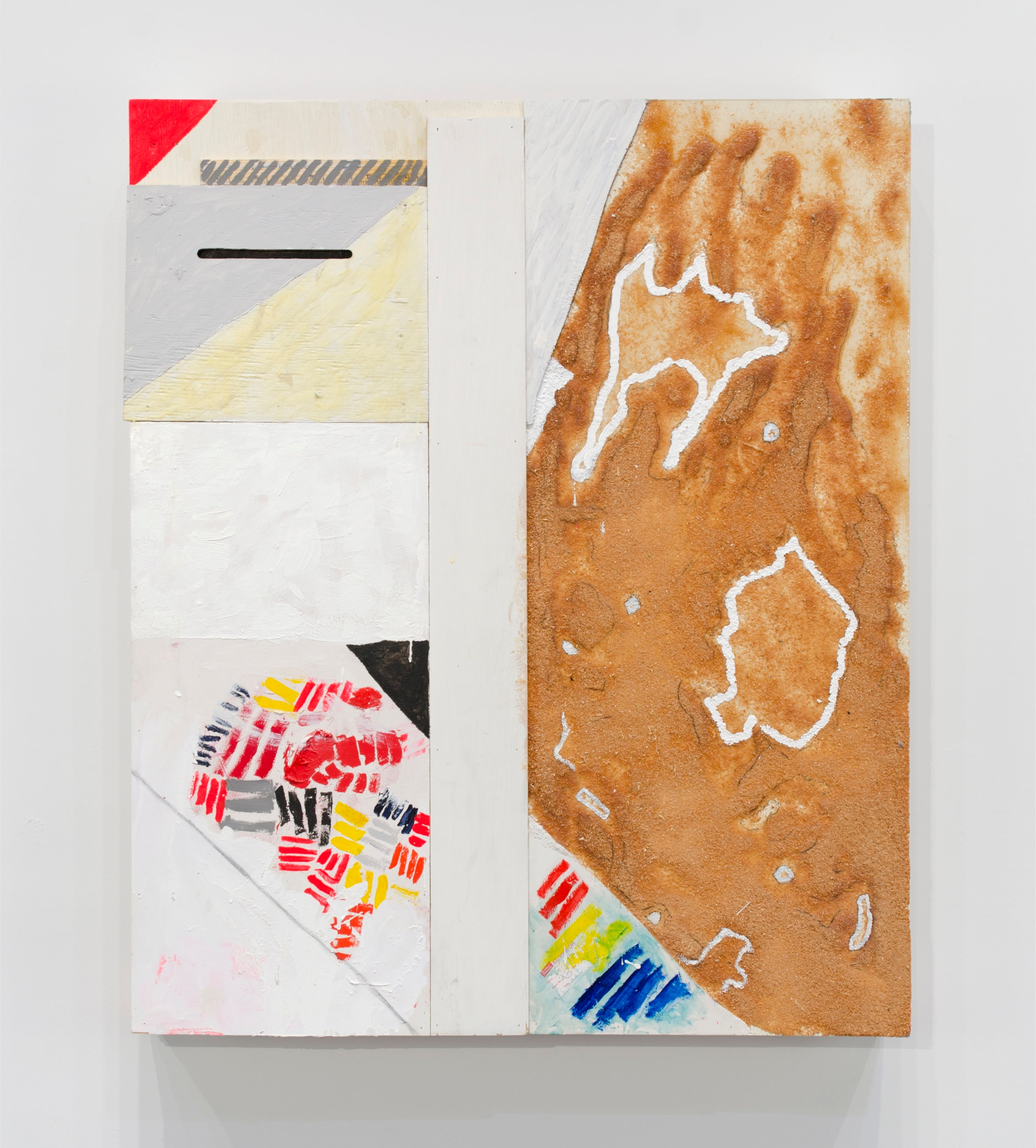 White Street Sandbox , 2013  Encaustic, acrylic, enamel, sawdust, epoxy, and shellac on wood  49 1/2 x 41 1/2 x 5 1/2 inches