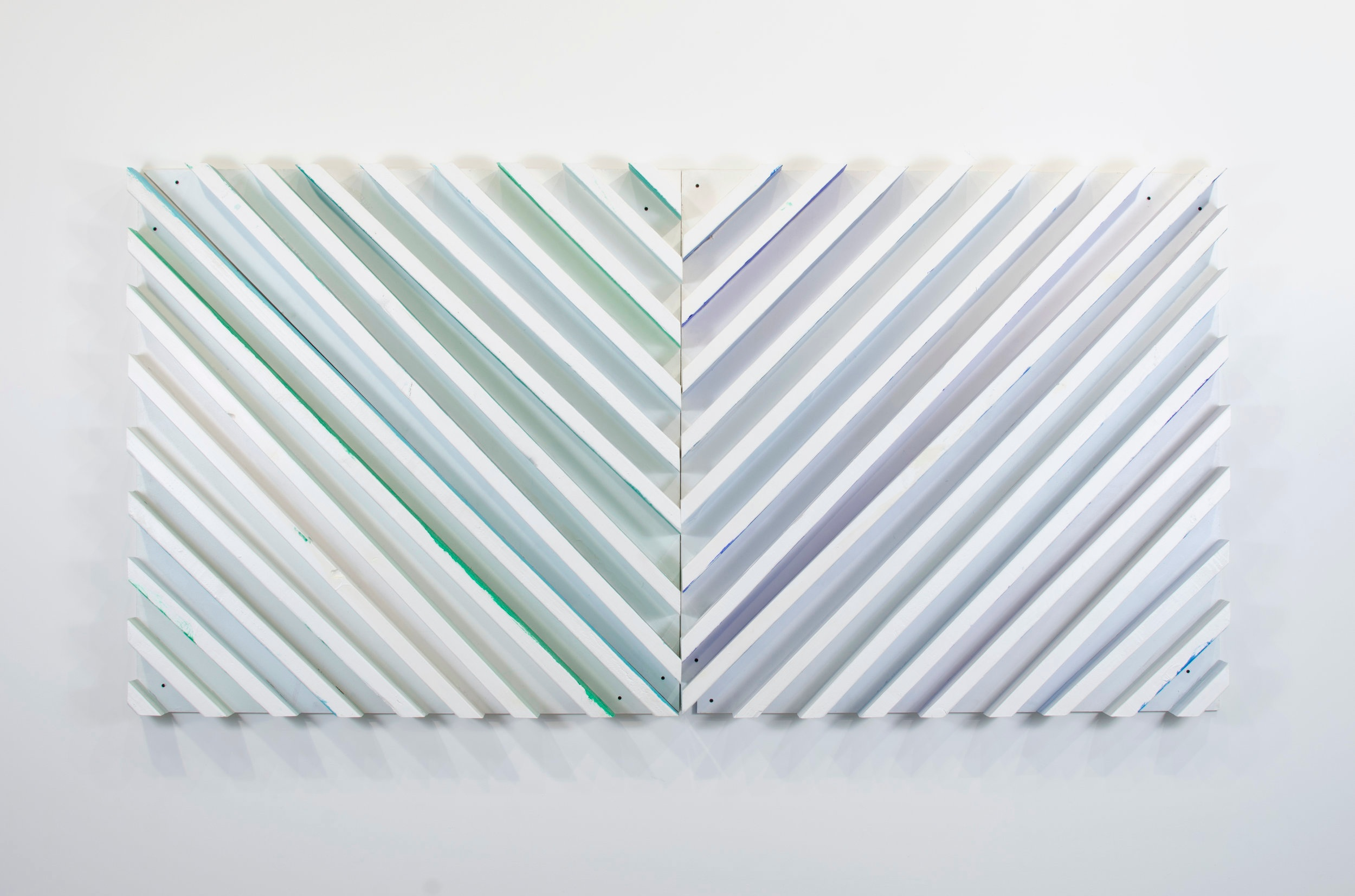 MOD 45 Green/Blue Test , 2014  Acrylic on wood  48 x 96 x 5 1/2 inches