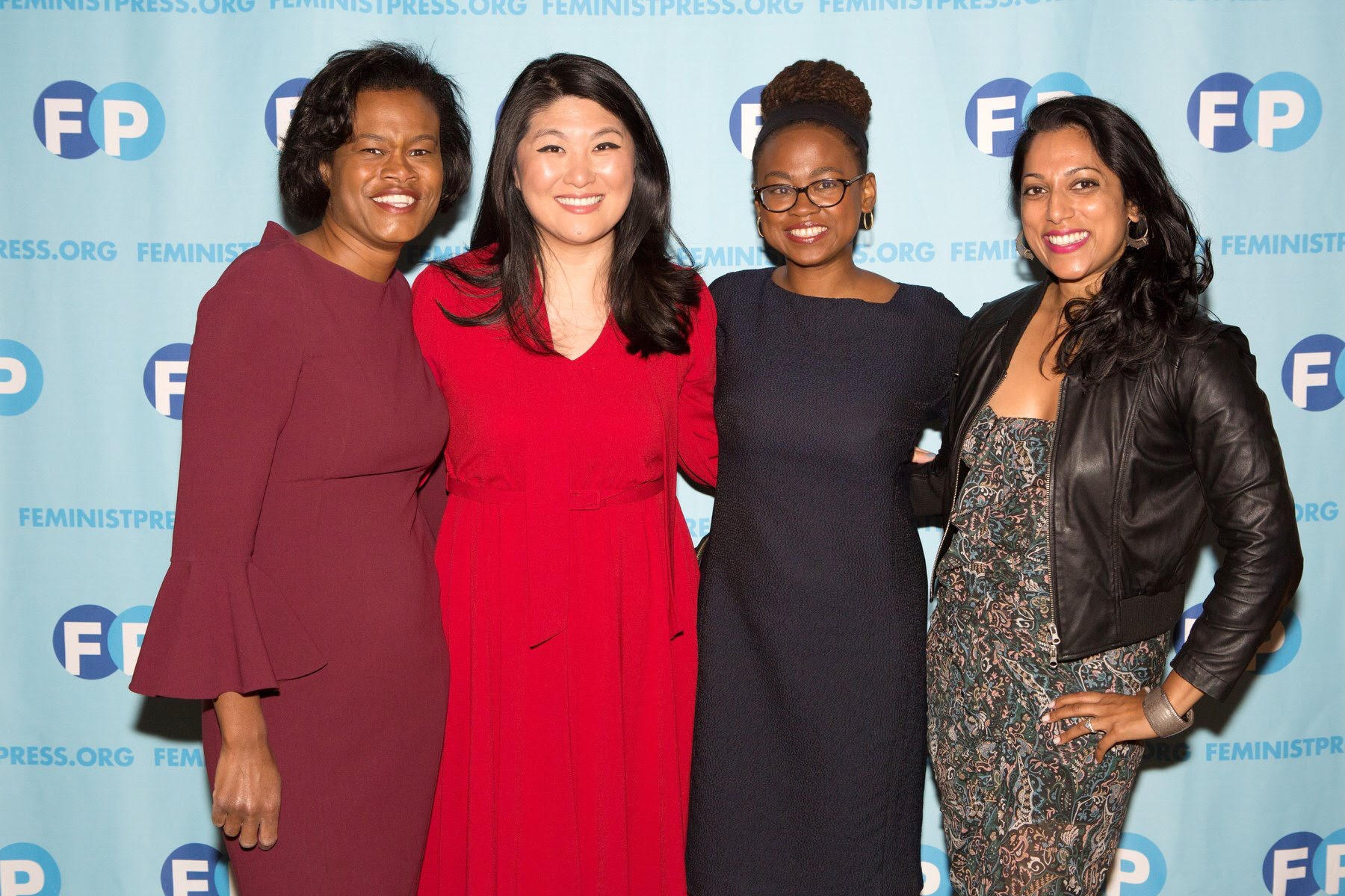 Prisca with her squad - Dawn Smalls, Jamia Wilson, and Penny Abeywardena at the 2018 Feminist Press Feminist Power Awards. Photo credit: Alexa Hoyer.