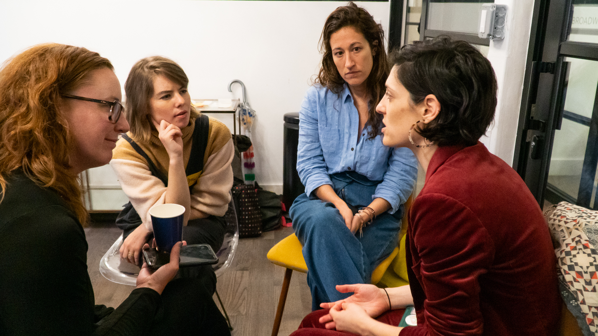 Small group conversations: Mendy Marsh of  Voice Amplified , Amy Shack Egan, Celine DeCarlo of  Mara Hoffman , Erin Mazursky of  Rhize .