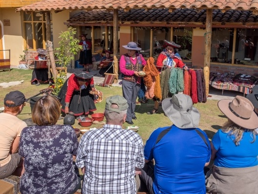Chinchero Traditional Weaving Centre - Watch demonstrations and learn first hand how weavers turn alpaca and sheep wool into fine textiles. Discover the rainbow of colours that natural dyes produce and see the unique ñawi awapa border technique.