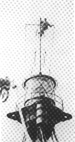 Ombord på HR 1 Fyrskib, ca. 1949. Tørnen var da 1 måned ude og 14 dage hjemme.Foto: Fiskeri- og Søfartsmuseet.