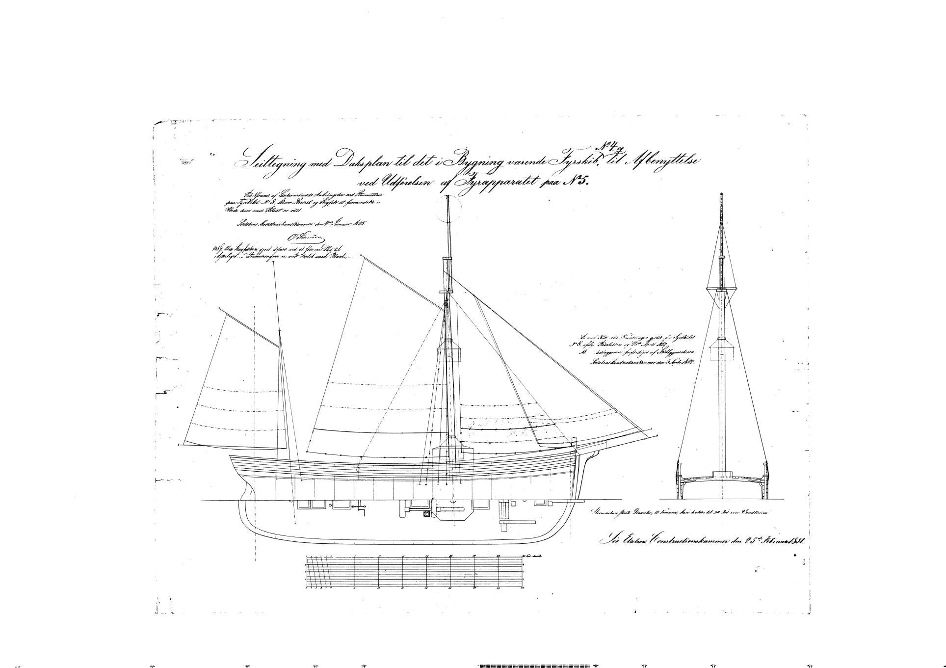 Sejl tegning til Fyrskib no. IV - V