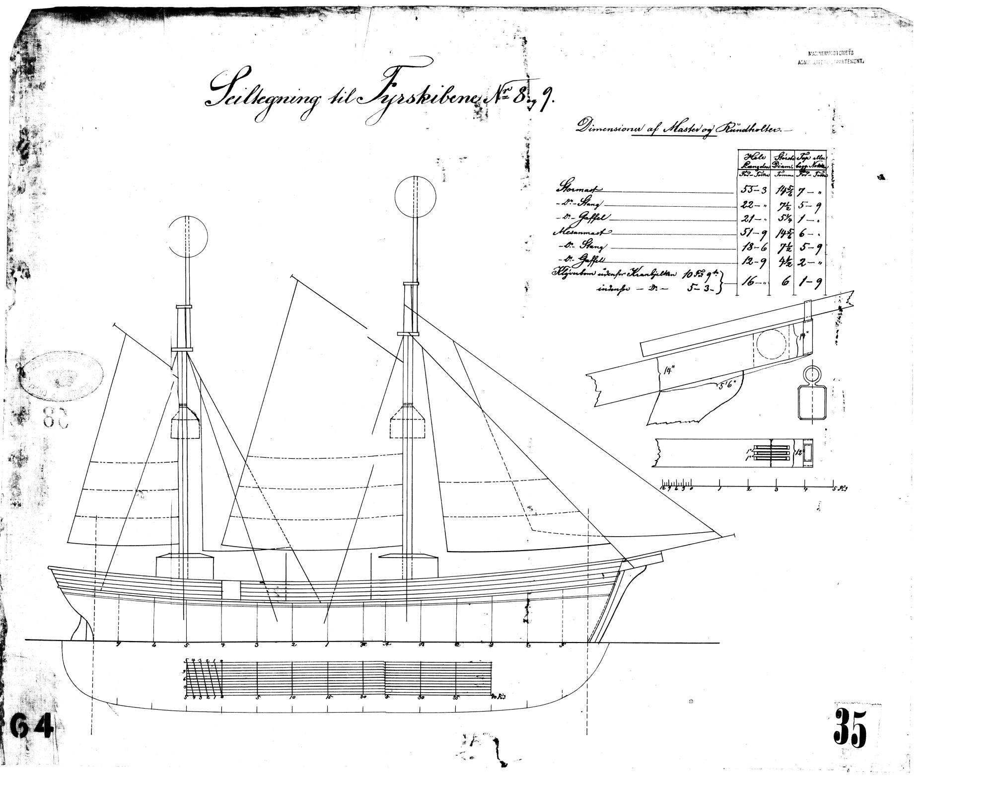 Sejltegning til Fyrskib no. VIII - IX