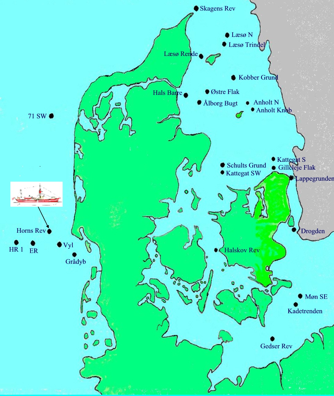 Danmarkskort over positionerne