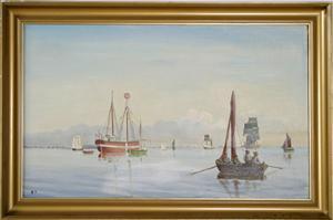 Maleri af ukendt: Fyrskib nr:1- på station Drogden ca: 1850 tilsendt af Michael Pang-Larsen, Dragør.Fyrskibets Venner i Esbjerg siger mange TAK.