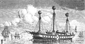 Kobberstik af fyrskib nr. VI